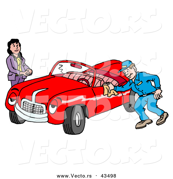 Vector of a Happy Auto Mechanic Man Smiling While Shining a Classic Red Convertible Car for a Lady
