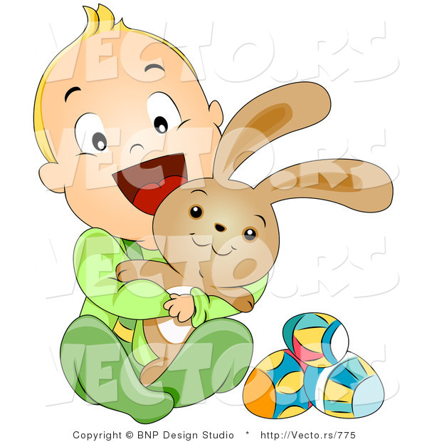 Vector of a Happy Baby Boy Hugging Easter Bunny