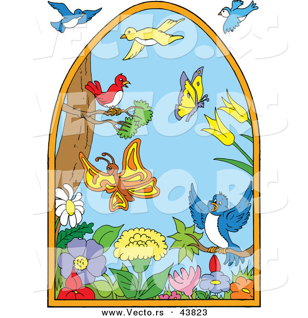 Vector of a Happy Birds and Butterflies Flying Around Flowers and Trees