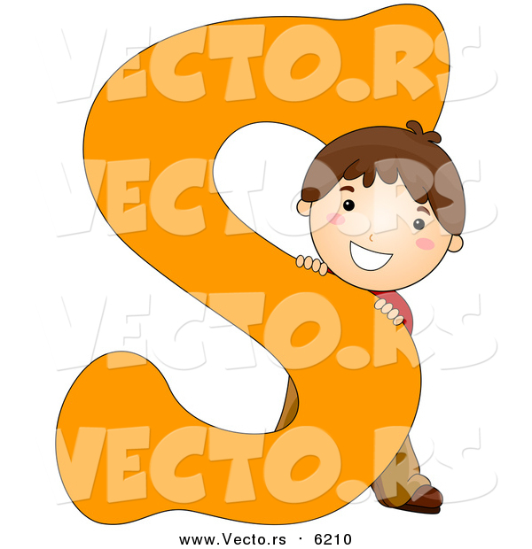 Vector of a Happy Boy Beside Alphabet Letter S