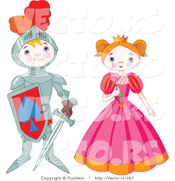 Vector of a Happy Boy Knight Standing Beside Pretty Princess