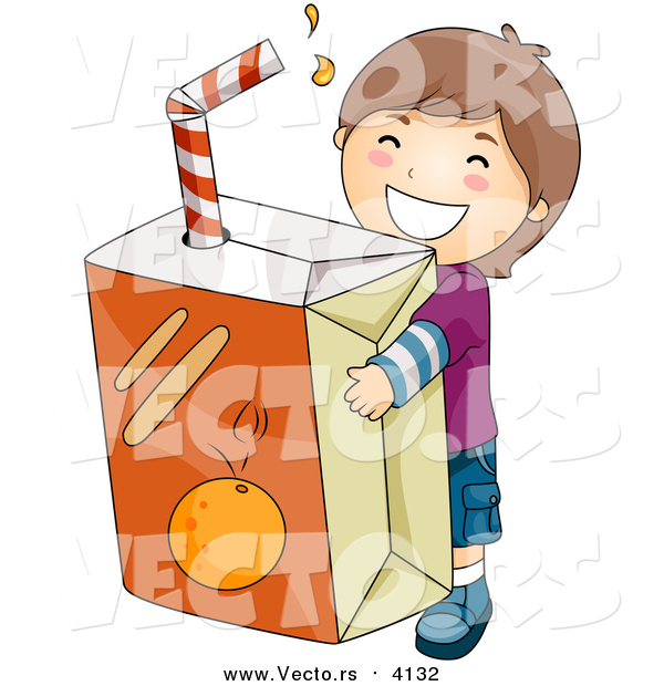 Vector of a Happy Brunette Boy Carrying a Giant Orange Juice Box
