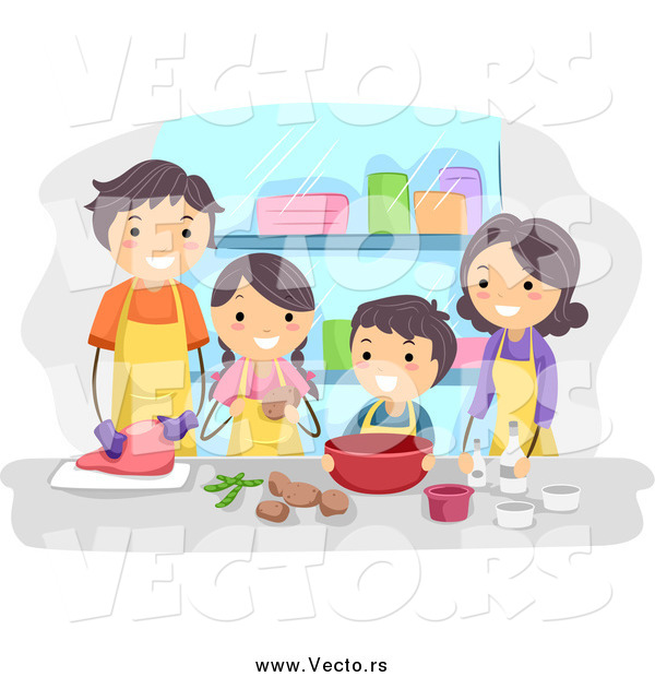 Vector of a Happy Brunette Family Cooking Together