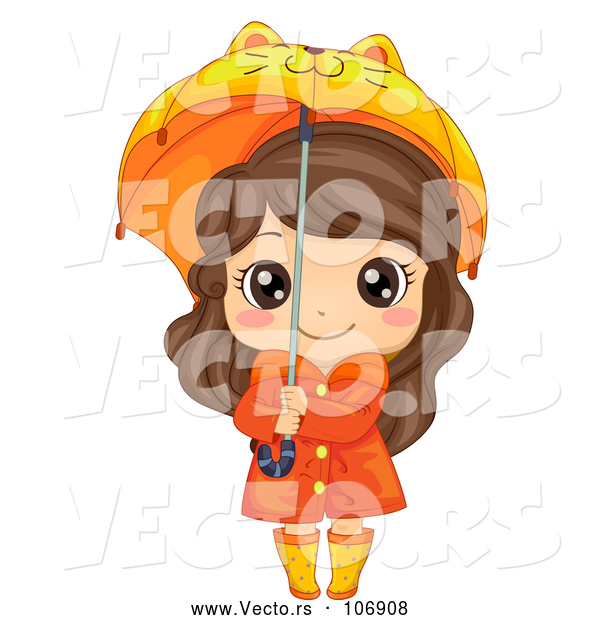 Vector of a Happy Brunette White Girl in Rain Gear, Holding a Cat Umbrella