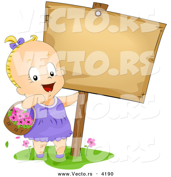 Vector of a Happy Cartoon Baby Girl Carrying a Basket with Flowers Beside a Blank Sign