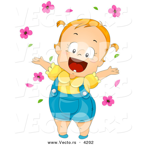 Vector of a Happy Cartoon Baby Girl Playing with Pink Flowers