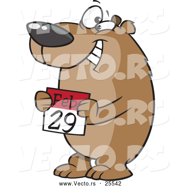 Vector of a Happy Cartoon Bear Holding a February 29th Calendar Day - National Leap Day