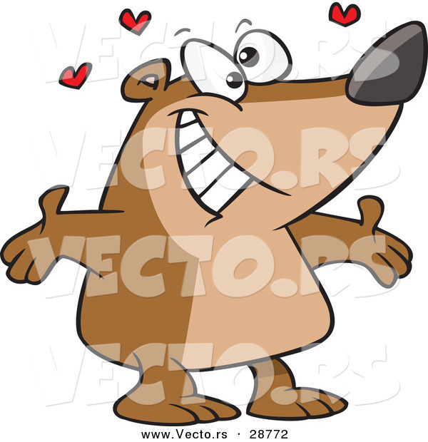 Vector of a Happy Cartoon Bear Ready to Hug with Love Hearts