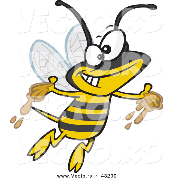 Vector of a Happy Cartoon Bee Flying Around with Honey on His Hands