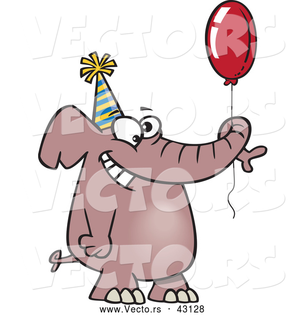 Vector of a Happy Cartoon Birthday Elephant with a Red Balloon