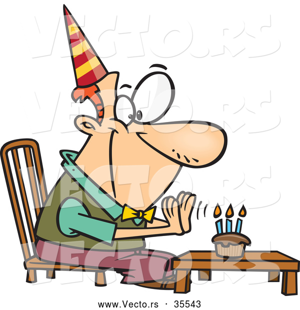 Vector of a Happy Cartoon Birthday Man Sitting in Front of a Lit Cupcake with Candles