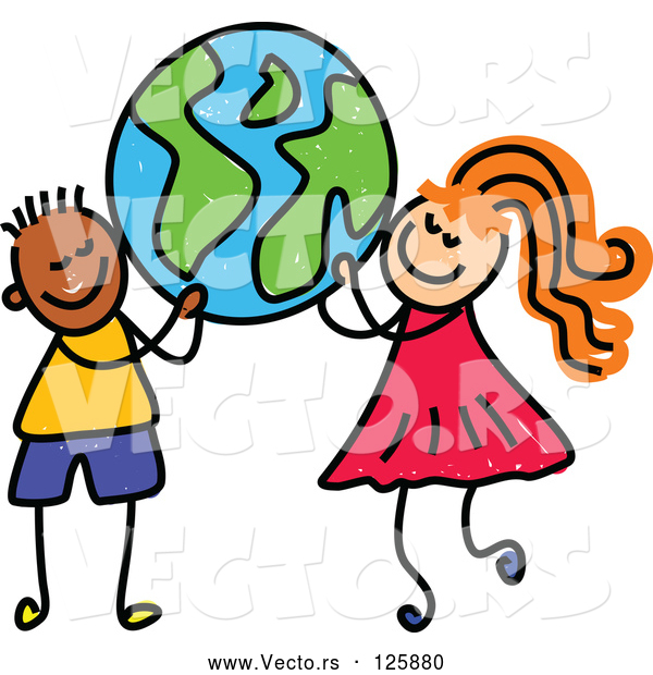 Vector of a Happy Cartoon Black Boy and a White Girl Carrying a Globe