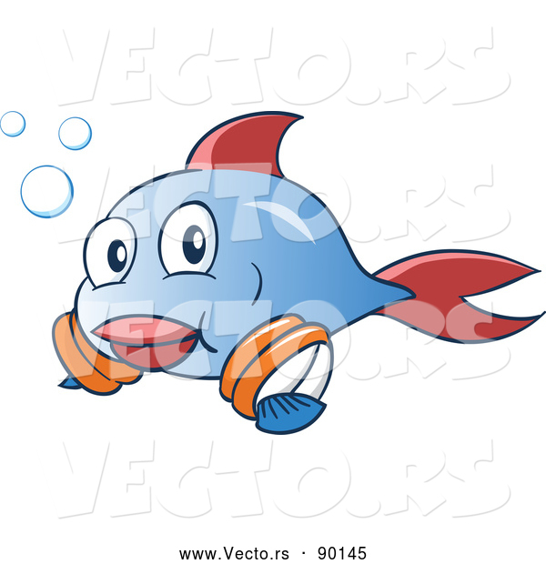 Vector of a Happy Cartoon Blue and Red Fish Learning to Swim with Arm Floaties