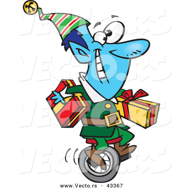 Vector of a Happy Cartoon Blue Christmas Elf Transporting Wrapped Presents on a Unicycle