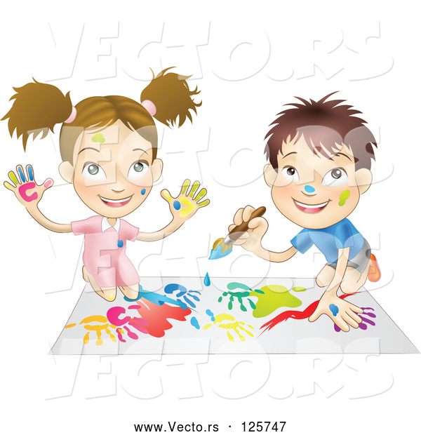 Vector of a Happy Cartoon Boy and Girl Hand Painting and Painting Together