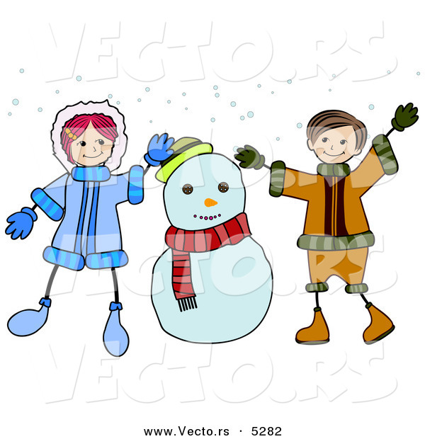 Vector of a Happy Cartoon Boy and Girl Playing Beside a Snowman
