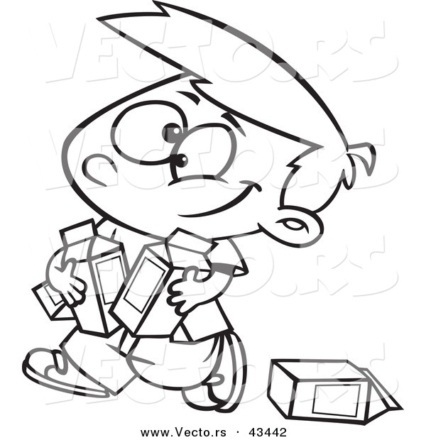 Vector of a Happy Cartoon Boy Carrying Quarts of Milk - Coloring Page Outline