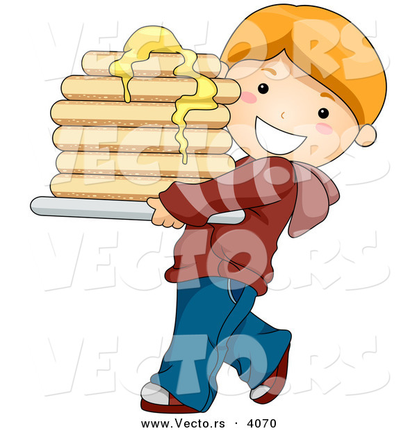 Vector of a Happy Cartoon Boy Carrying Stack of Pancakes with Butter