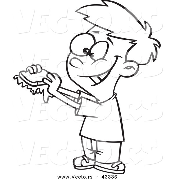 Vector of a Happy Cartoon Boy Eating a Messy Jam Sandwich - Coloring Page Outline