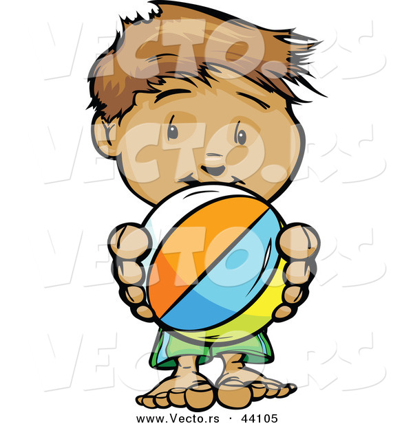 Vector of a Happy Cartoon Boy Holding a Beach Ball