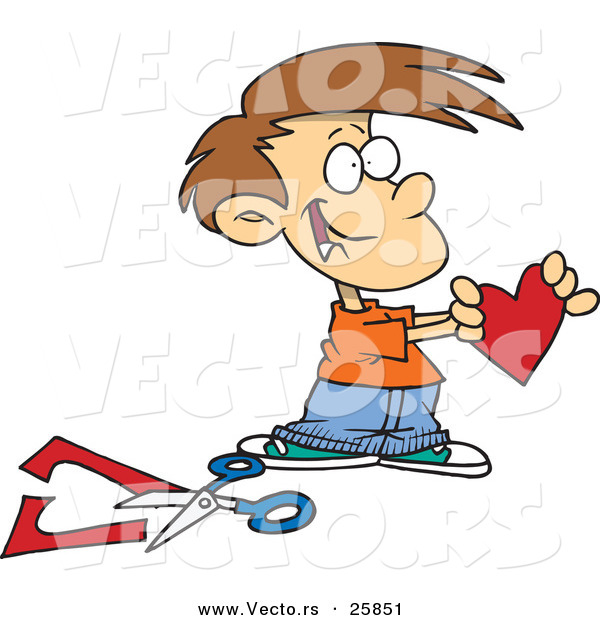 Vector of a Happy Cartoon Boy Holding a Paper Love Heart Beside Scissors