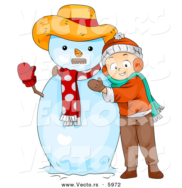 Vector of a Happy Cartoon Boy Hugging a Snowman