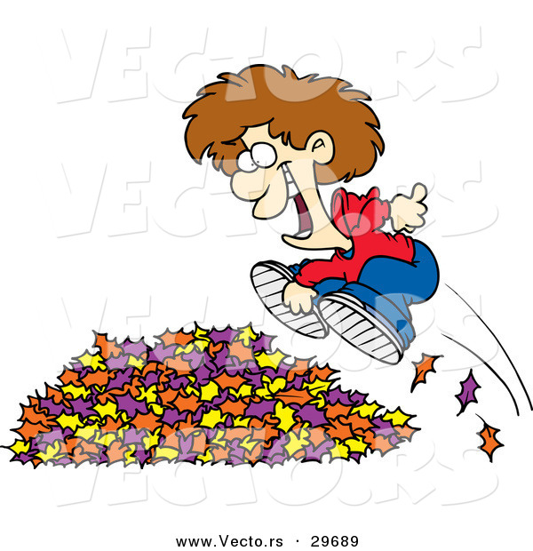 Vector of a Happy Cartoon Boy Jumping in to a Pile of Autumn Leaves