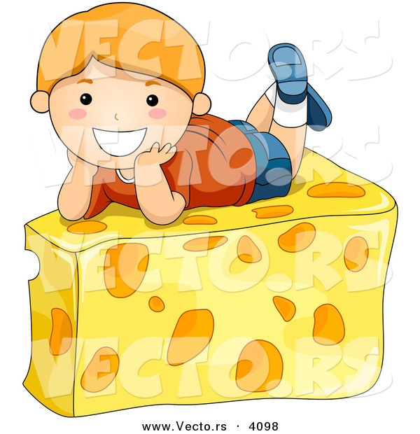 Vector of a Happy Cartoon Boy Laying on Cheese Wedge
