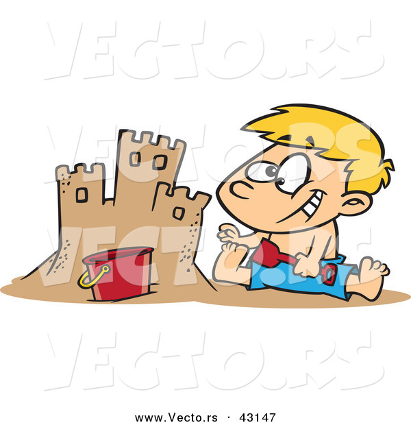 Vector of a Happy Cartoon Boy Making a Sand Castle at the Beach