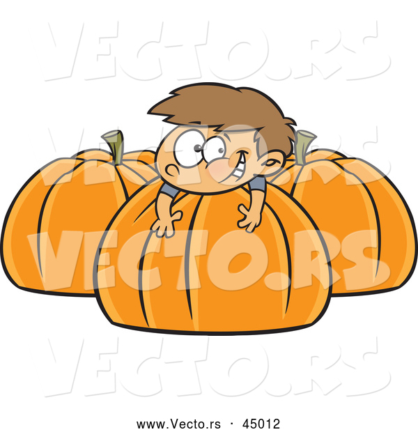 Vector of a Happy Cartoon Boy Playing on Big Pumpkins