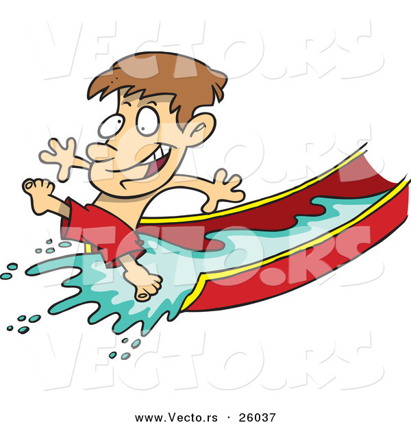 Vector of a Happy Cartoon Boy Playing on Water Slide