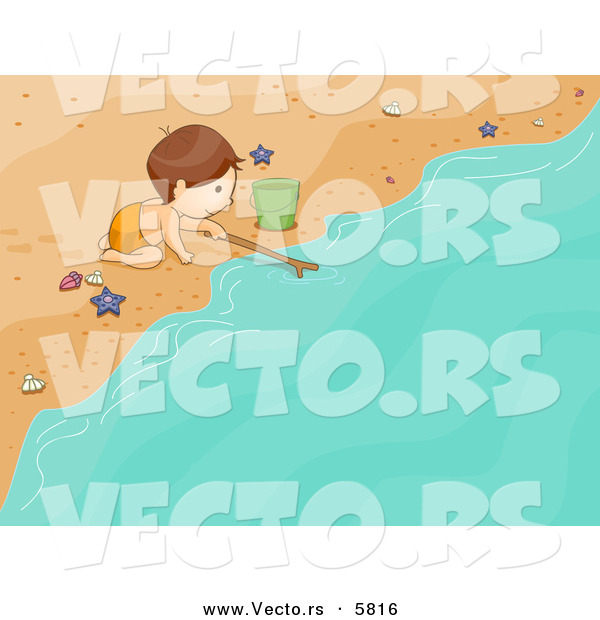 Vector of a Happy Cartoon Boy Playing with a Stick and Beach Water