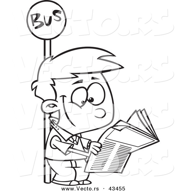 vector of a happy cartoon boy reading a newspaper at a bus stop coloring page outline by ron. Black Bedroom Furniture Sets. Home Design Ideas
