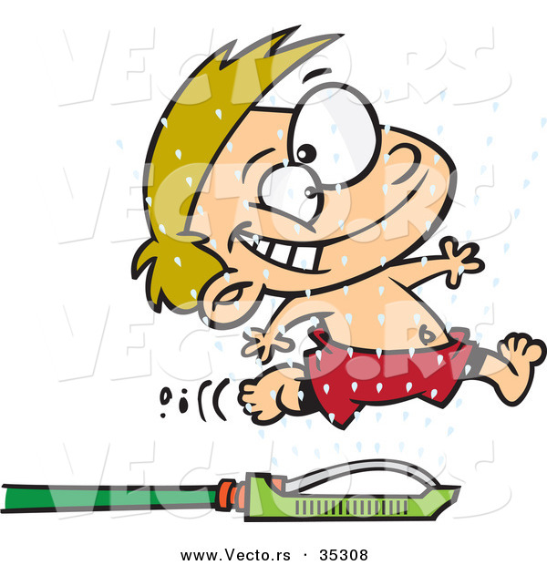 Vector of a Happy Cartoon Boy Running Through Water SprinklersHappy Cartoon Boy Running Through Water Sprinklers