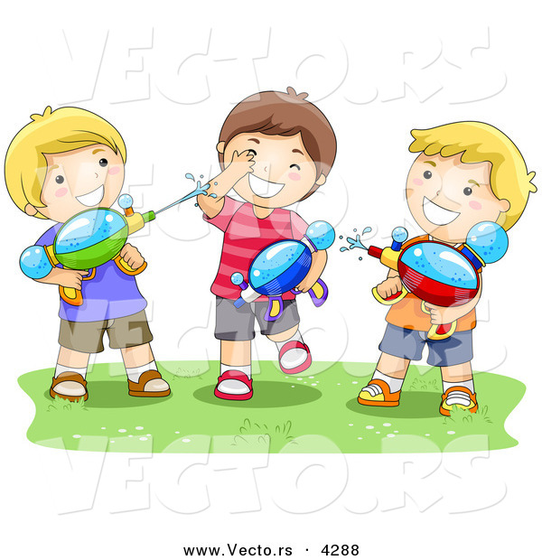 Vector of a Happy Cartoon Boys Playing with Water Squirt Guns on Grass
