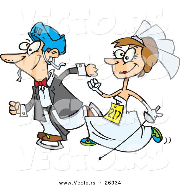 : Vector of a Happy Cartoon Bride and Groom Running in a Race