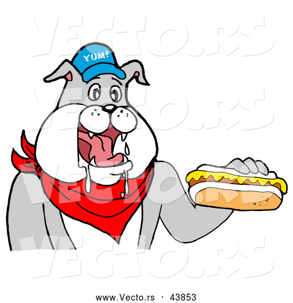 Vector of a Happy Cartoon Bulldog Mascot Eating Hot Dog with Mustard