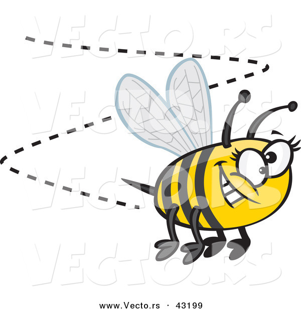 Vector of a Happy Cartoon Bumblebee Buzzing Around with a Big Goofy Smile