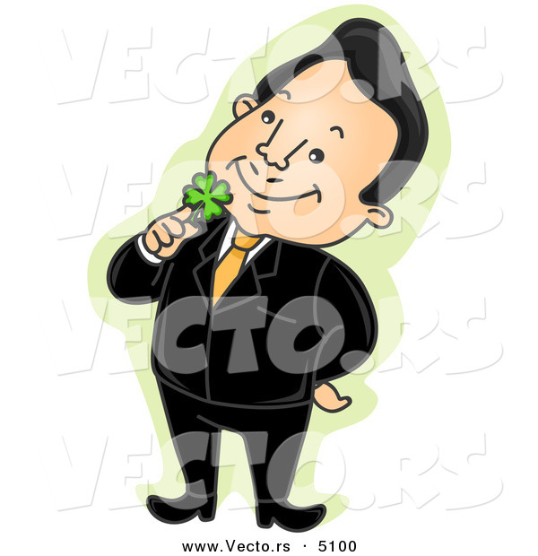 Vector of a Happy Cartoon Businessman Holding a Lucky Shamrock to His Face