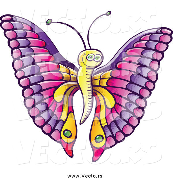 Vector of a Happy Cartoon Butterfly with Pink and Purple Wings and a Yellow Body