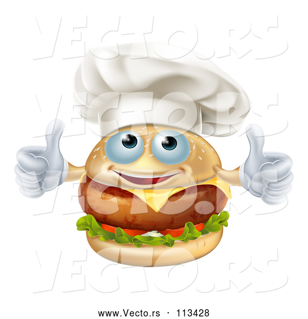Vector of a Happy Cartoon Cheeseburger Chef Character Giving Two Thumbs up