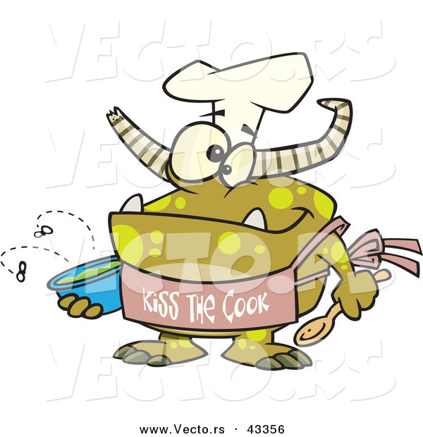 "Vector of a Happy Cartoon Chef Monster Wearing a ""Kiss the Cook"" Apron"