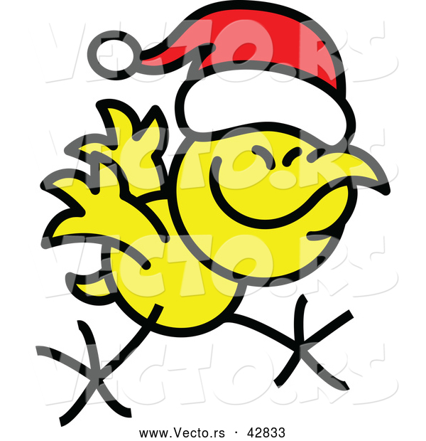 Vector of a Happy Cartoon Christmas Chicken Running While Wearing Santa Hat