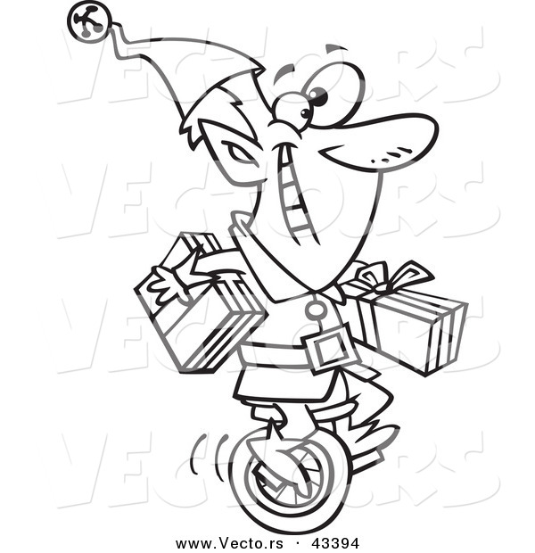 Vector of a Happy Cartoon Christmas Elf Carrying Gifts on a Unicycle - Coloring Page Outline