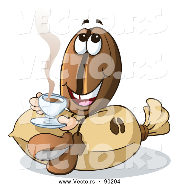 Vector of a Happy Cartoon Coffee Bean Mascot Sitting Sipping Java on Burlap Bag