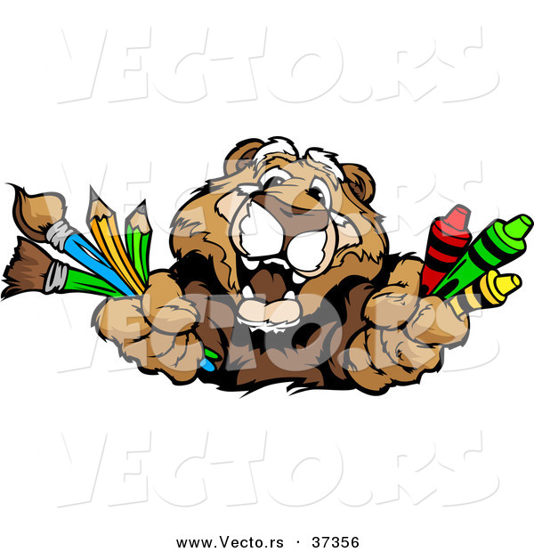 Vector of a Happy Cartoon Cougar Character with Crayons, Paintbrushes, and Pencils