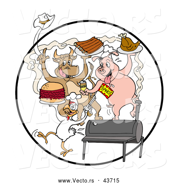 Vector of a Happy Cartoon Cow, Pig and Chicken Celebrating with a BBQ, Eating Bbq Ribs, Burgers and Chicken