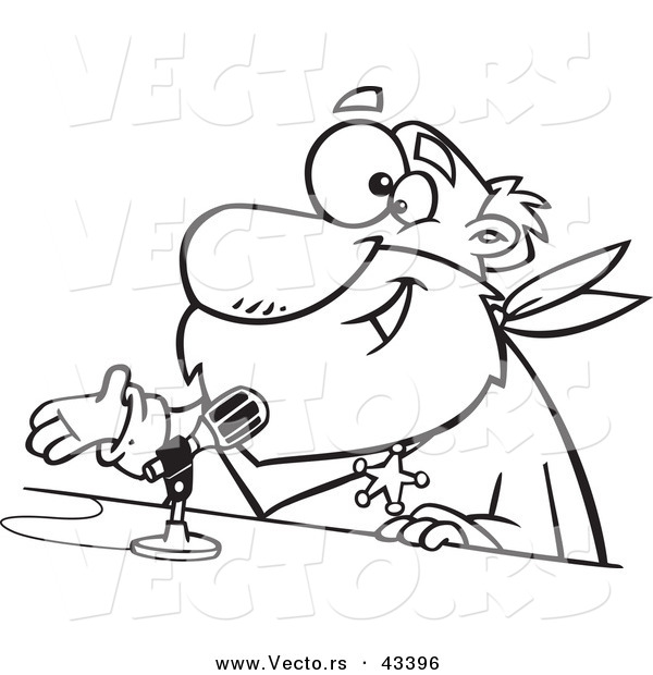 Vector of a Happy Cartoon CRS Santa Speaking into a Microphone - Coloring Page Outline