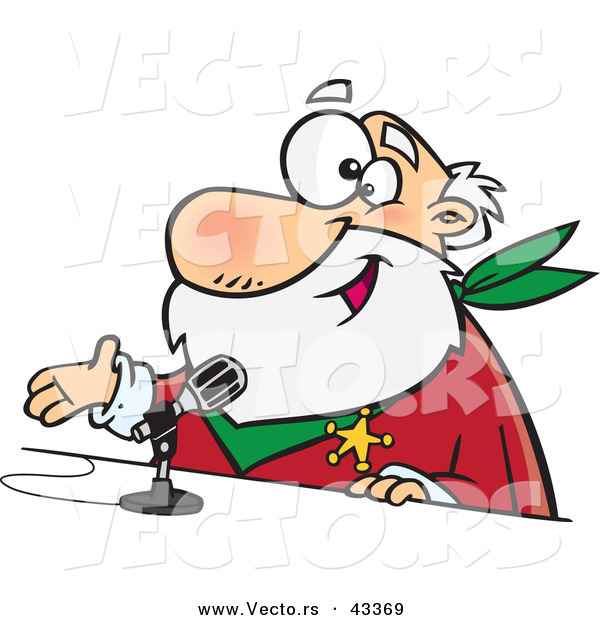 Vector of a Happy Cartoon CRS Santa Talking into a Microphone