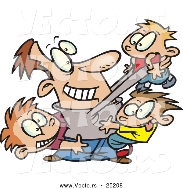 Vector of a Happy Cartoon Dad Playing with Three Sons